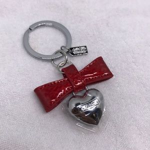 Coach red bow heart drop keychain